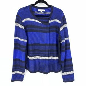 Loft Blue Stripe Moto Style Knit Jacket
